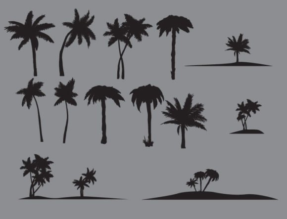 Palm trees vector pack 2
