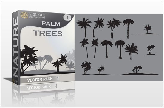 Palm trees vector pack 1