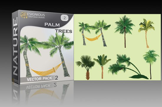 Palm trees vector pack 2 1