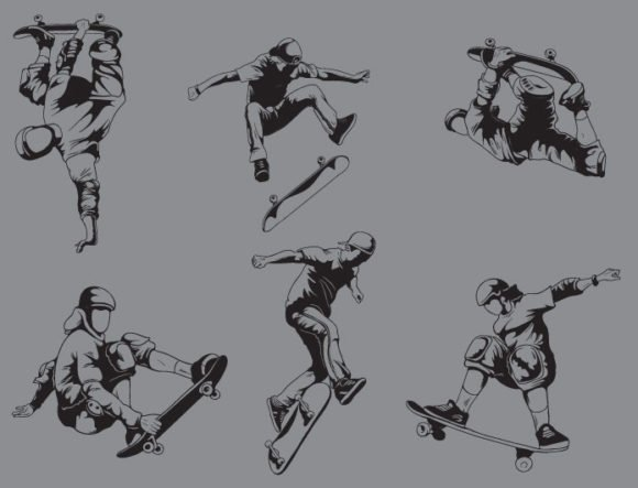 Sports skaters vector pack 2