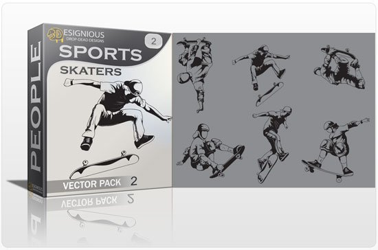 Sports skaters vector pack 1