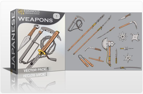 Japanese Weapons Vector Pack 1 1