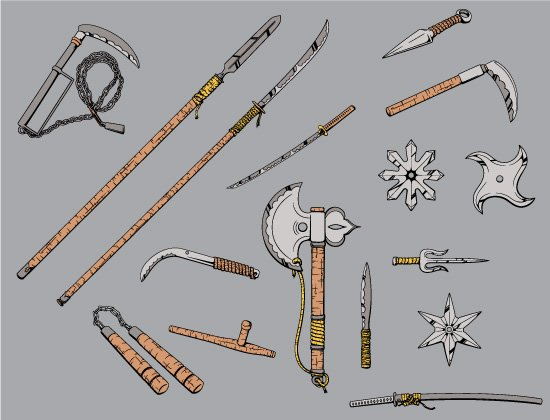 Japanese Weapons Vector Pack 1 2