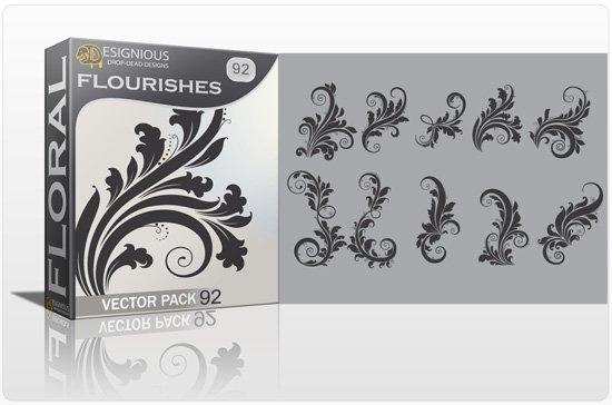 Floral Vector Pack 92 -  Flourishes 1