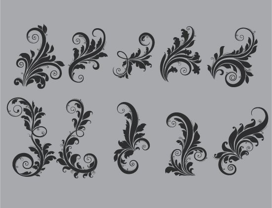 Floral Vector Pack 92 -  Flourishes 2