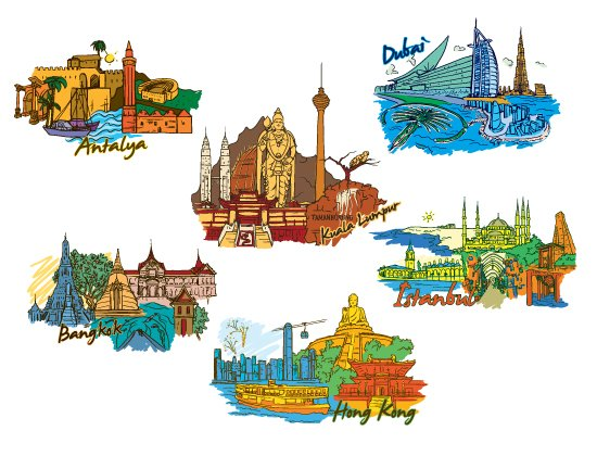 Famous Cities Vector Pack 1 2