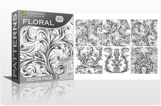 Seamless Patterns Vector Pack 63 - Floral Chaos Engraved 1