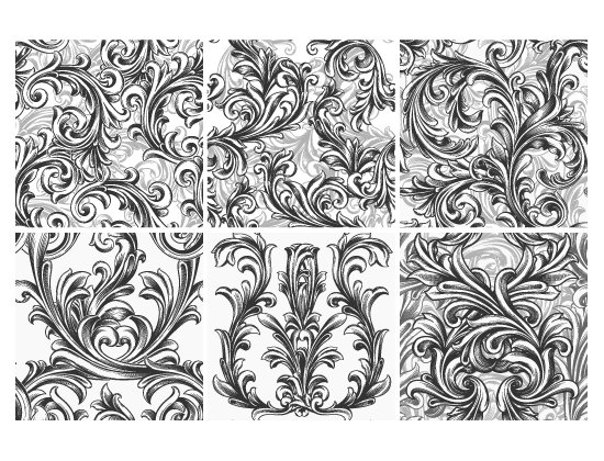 Seamless Patterns Vector Pack 63 - Floral Chaos Engraved 2
