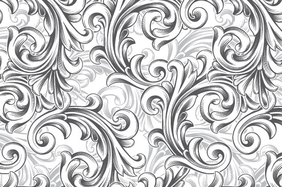 Seamless Patterns Vector Pack 63 - Floral Chaos Engraved 3