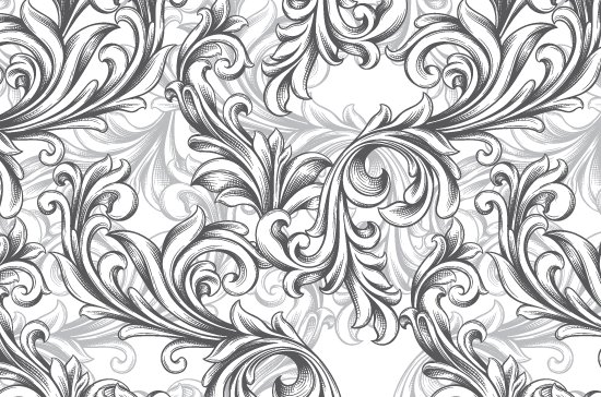 Seamless Patterns Vector Pack 63 - Floral Chaos Engraved 6