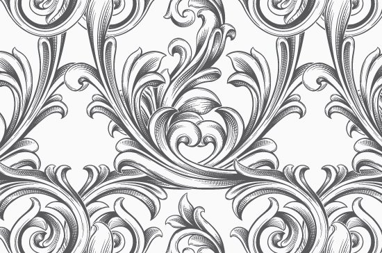 Seamless Patterns Vector Pack 63 - Floral Chaos Engraved 5