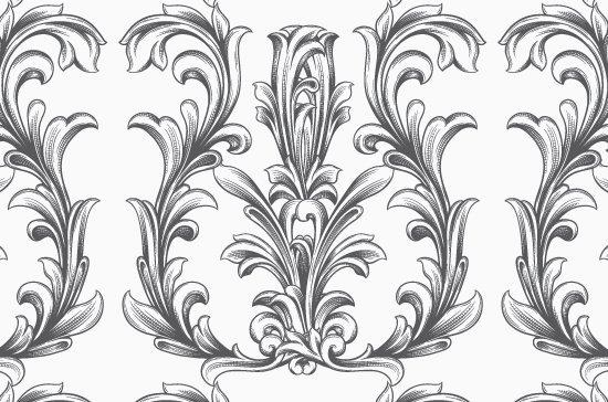 Seamless Patterns Vector Pack 63 - Floral Chaos Engraved 4
