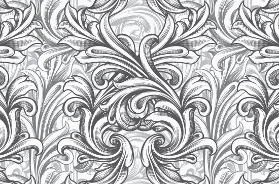 Seamless Patterns Vector Pack 63 - Floral Chaos Engraved 7
