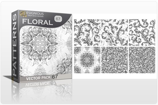 Seamless Patterns Vector Pack 67 - Floral Chaos Engraved 1