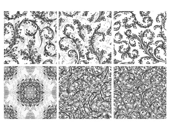 Seamless Patterns Vector Pack 67 - Floral Chaos Engraved 2
