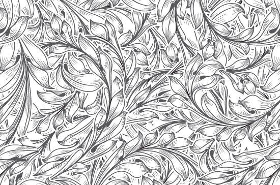 Seamless Patterns Vector Pack 67 - Floral Chaos Engraved 3
