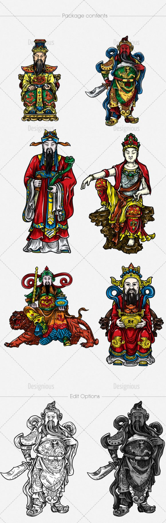 Chinese Gods Vector Pack 1 2