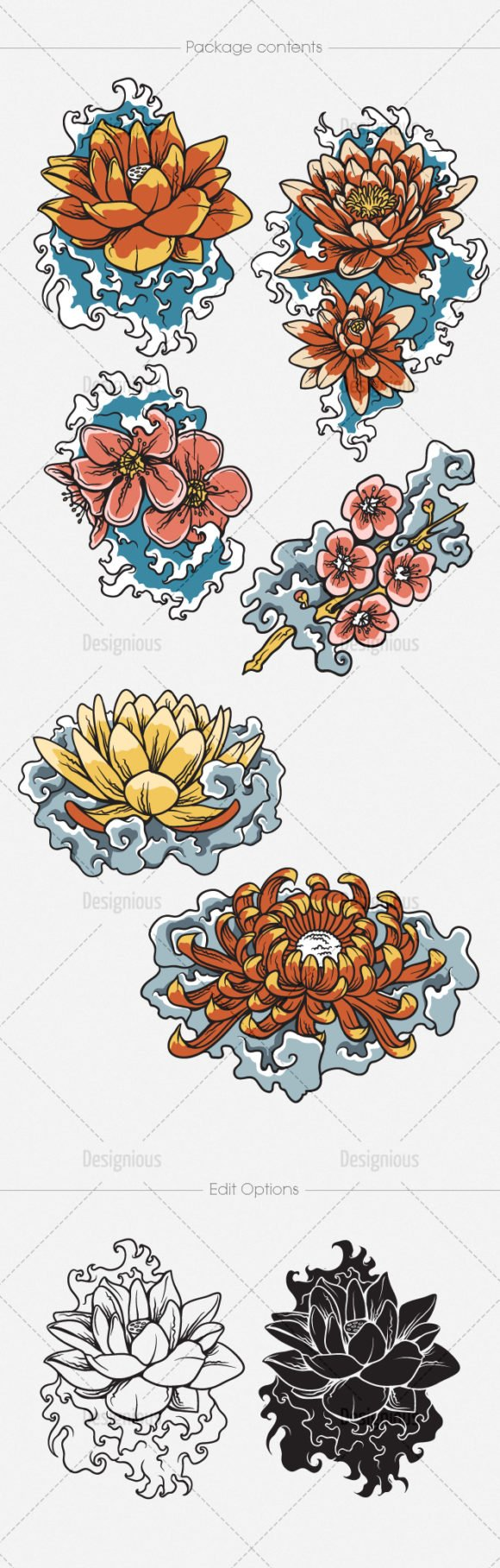 Japanese Flowers Vector Pack 2 2