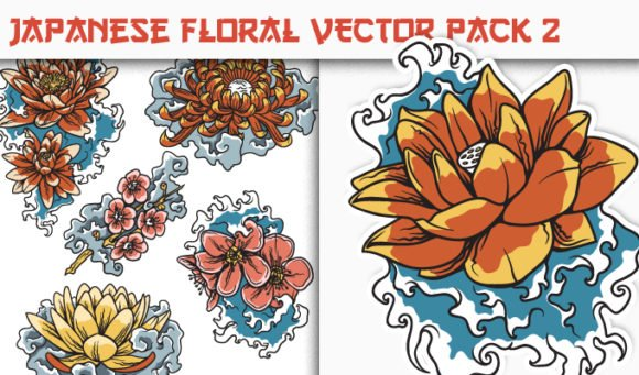 Japanese Flowers Vector Pack 2 1