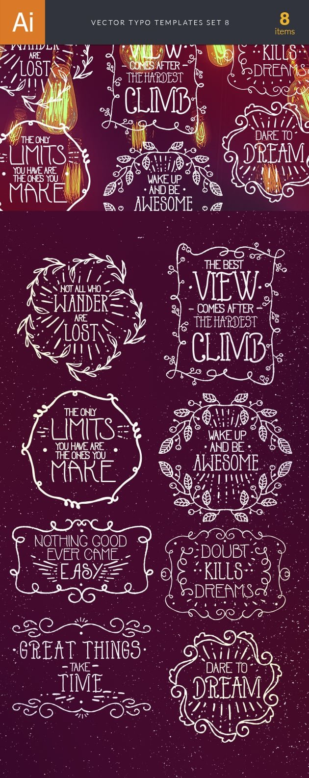 Vector Typography Templates Set 8 2