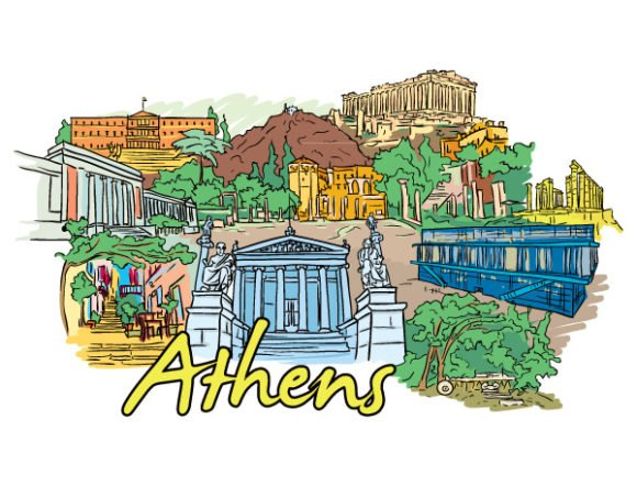 Gorgeous Statue Vector Image: Athens Doodles Vector Image Illustration 1