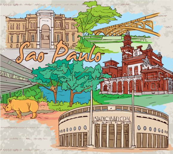 Doodles, Illustration, Grungy Vector Image Sao Paulo Doodles Vector Illustration 1