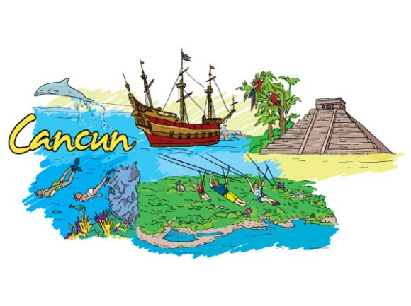 Brilliant Illustration Vector Design: Cancun Doodles Vector Design Illustration 1