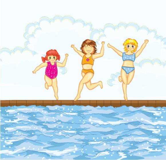 Download Little Vector Image: Little Girls At The Pool Vector Image Illustration 1