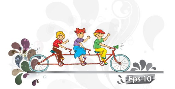 Kids Vector Design: Kids On A Bike Vector Design Illustration 1