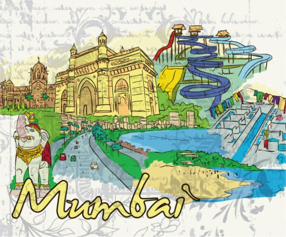Bold Mumbai Vector Background: Mumbai Doodles Vector Background Illustration 1