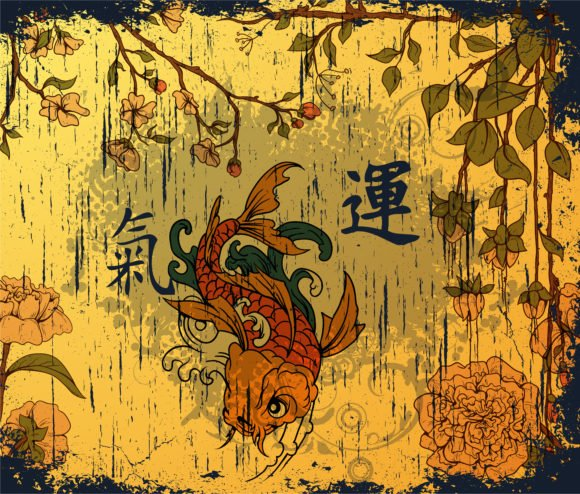 Vector, Koi, Background, Japanese Vector Art Vector Japanese Background With Koi Fish 1