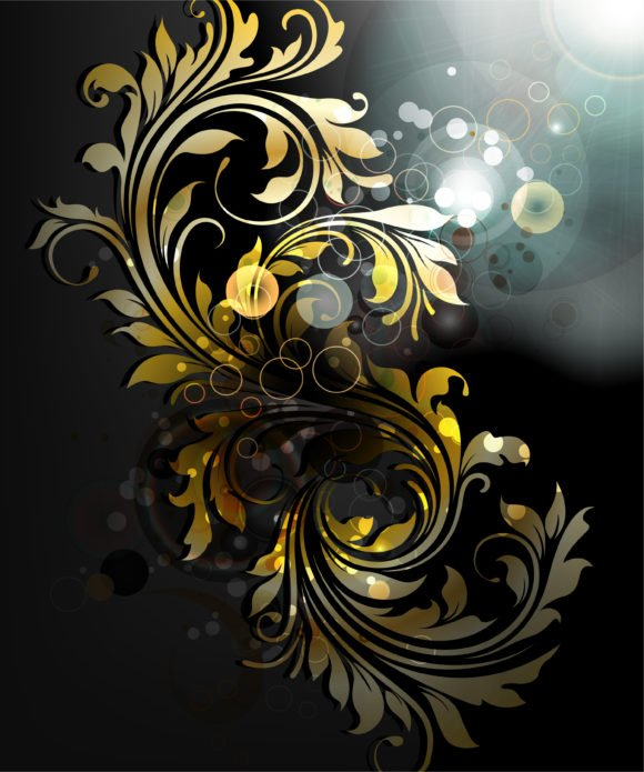 Background Vector Art Vector Abstract Gold Floral Background 1