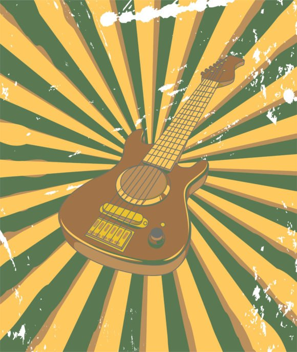 Retro, With, Concert, Concert Eps Vector Vector Retro Concert Poster With Guitar 1
