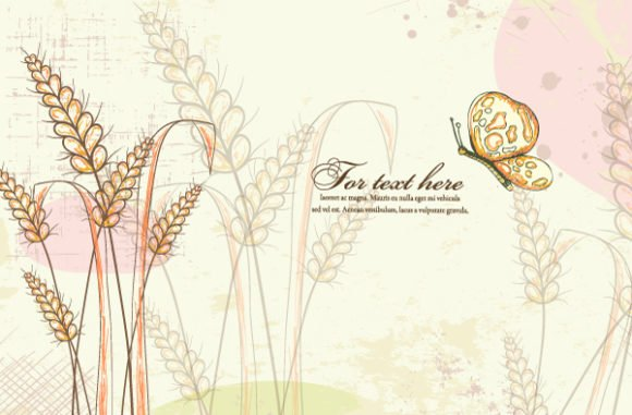 Colorful, Floral, Butterfly, With, Plant, Floral-3 Vector Illustration Vector Colorful Floral Background With Butterfly 1