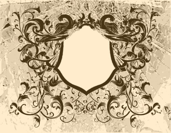 Grunge, Frame, Floral, Vector Vector Illustration Vector Vintage Floral Frame With Grunge Background 1