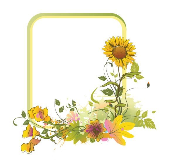Colorful, Frame Vector Graphic Colorful Floral Frame Vector Illustration 1