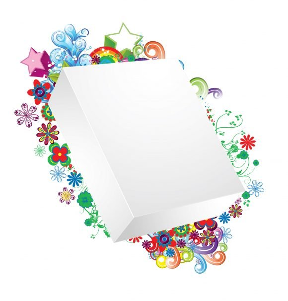Vector Vector Artwork: Vector Artwork Blank 3d Box With Floral 1