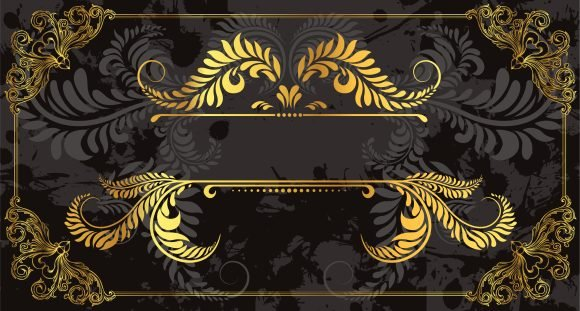 Floral, Gold, Frame Vector Illustration Vector Gold Floral Frame Vintage Illustration 1