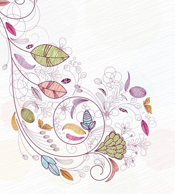 Vector Vector Graphic Doodles Floral Background Vector Illustration 1