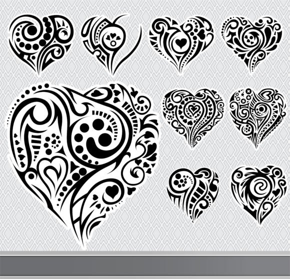 Set Vector Image Abstract Hearts Set Vector Illustration 1