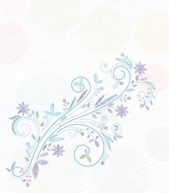 Vector Vector Design: Doodles Floral Background Vector Design Illustration 1