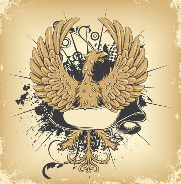 Brilliant With Vector Artwork: Vector Artwork Grunge Emblem With Griffin 1