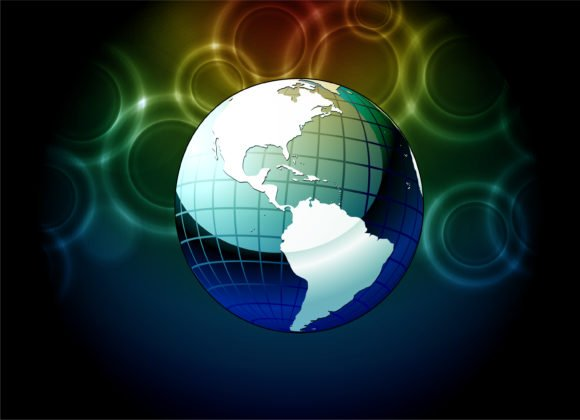 Surprising Vector Vector Illustration: Vector Illustration Earth Globe With Bokeh Background 1