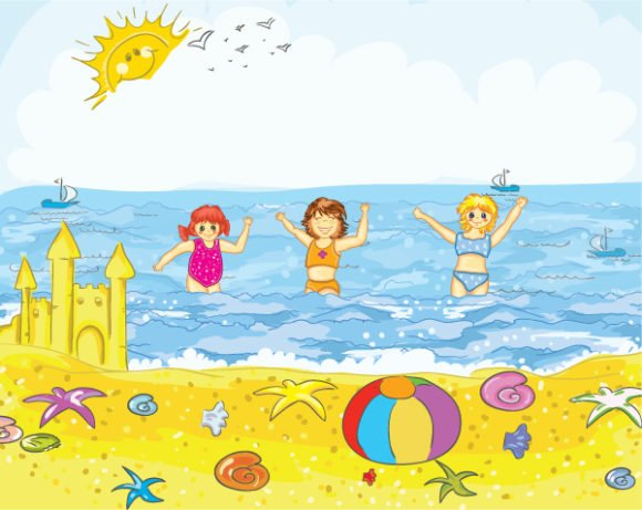 Castle Vector Design: Kids Playing On The Beach 1