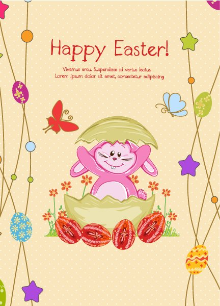 With Vector Illustration Bunny With Eggs Vector Illustration 1