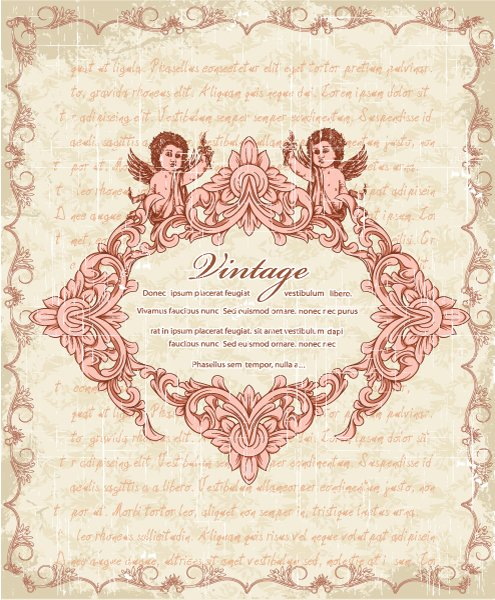 Vintage, Vector, With Vector Graphic Vector Vintage Frame With Angels 1