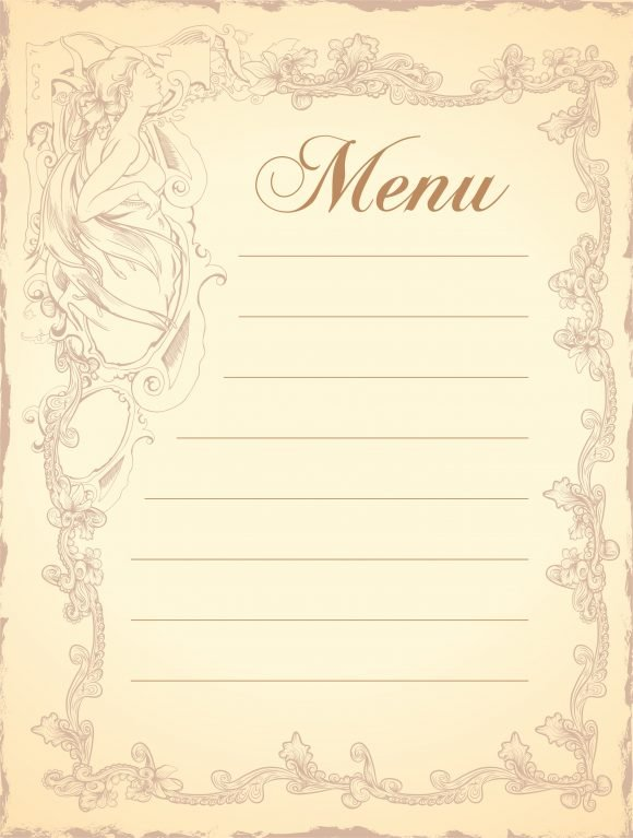 Menu Vector Background: Vector Background Vintage Restaurant Menu 1
