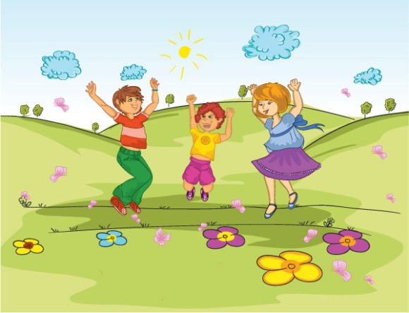 Gorgeous The Vector Image: Kids Playing In The Park Vector Image Illustration 1