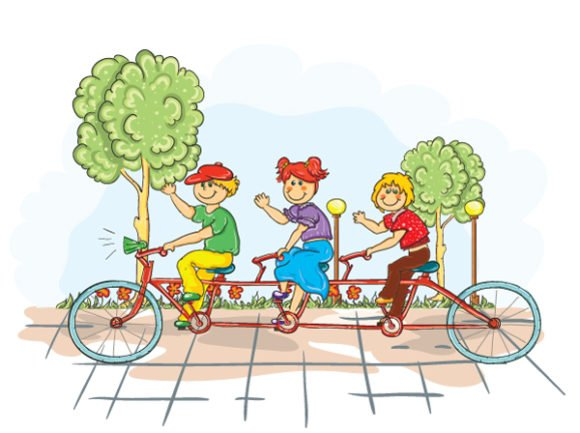 Kids, Bike, Nature-2, A Vector Image Kids On A Bike Vector Illustration 1