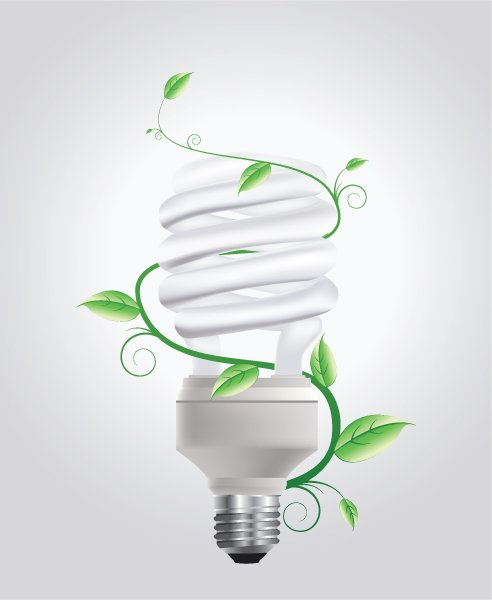 Striking Concepts Vector Artwork: Vector Artwork Energy Saving Lightbulb With Floral 1